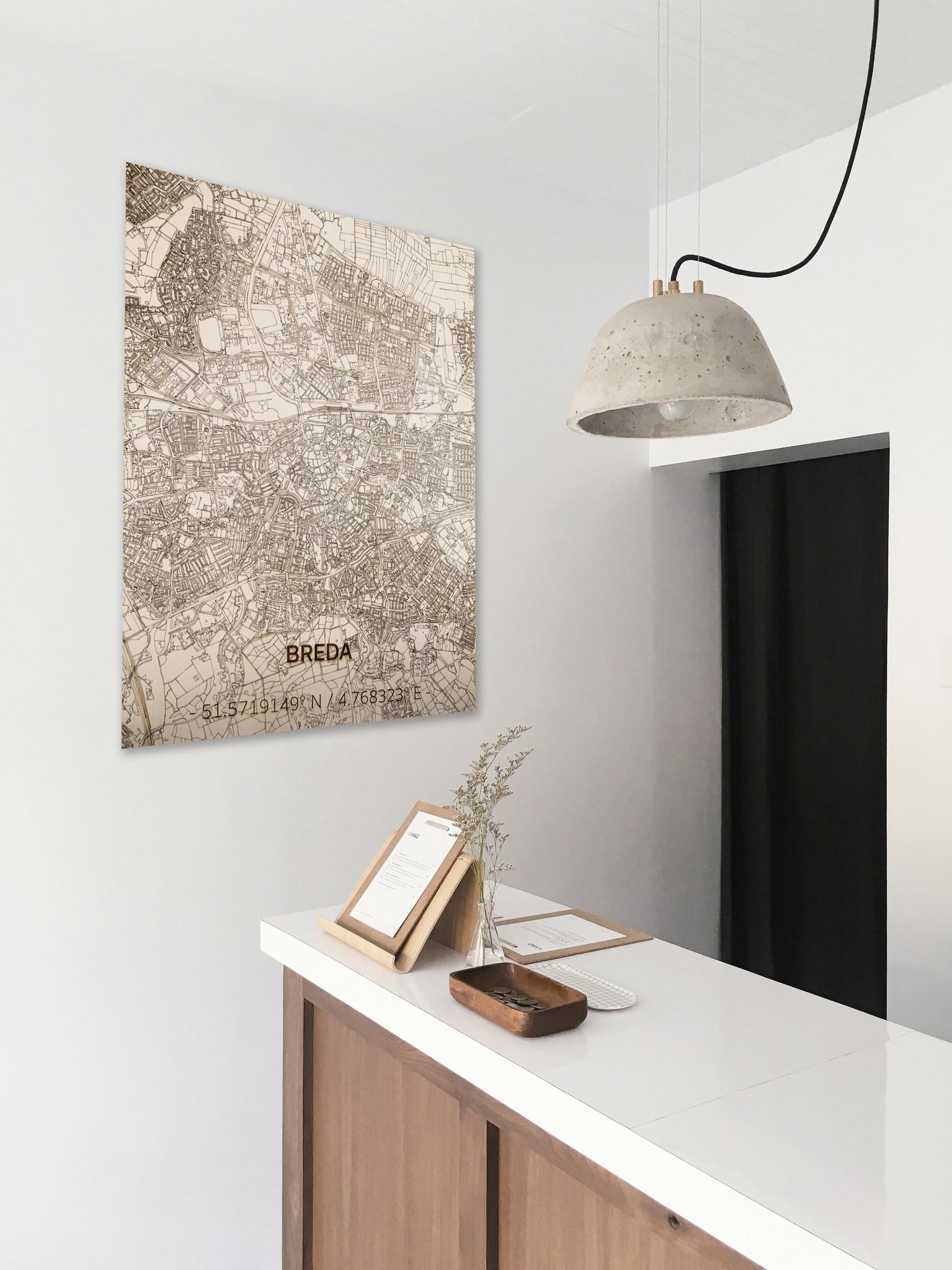 Stadtplan Breda | Wanddekoration Holz-2