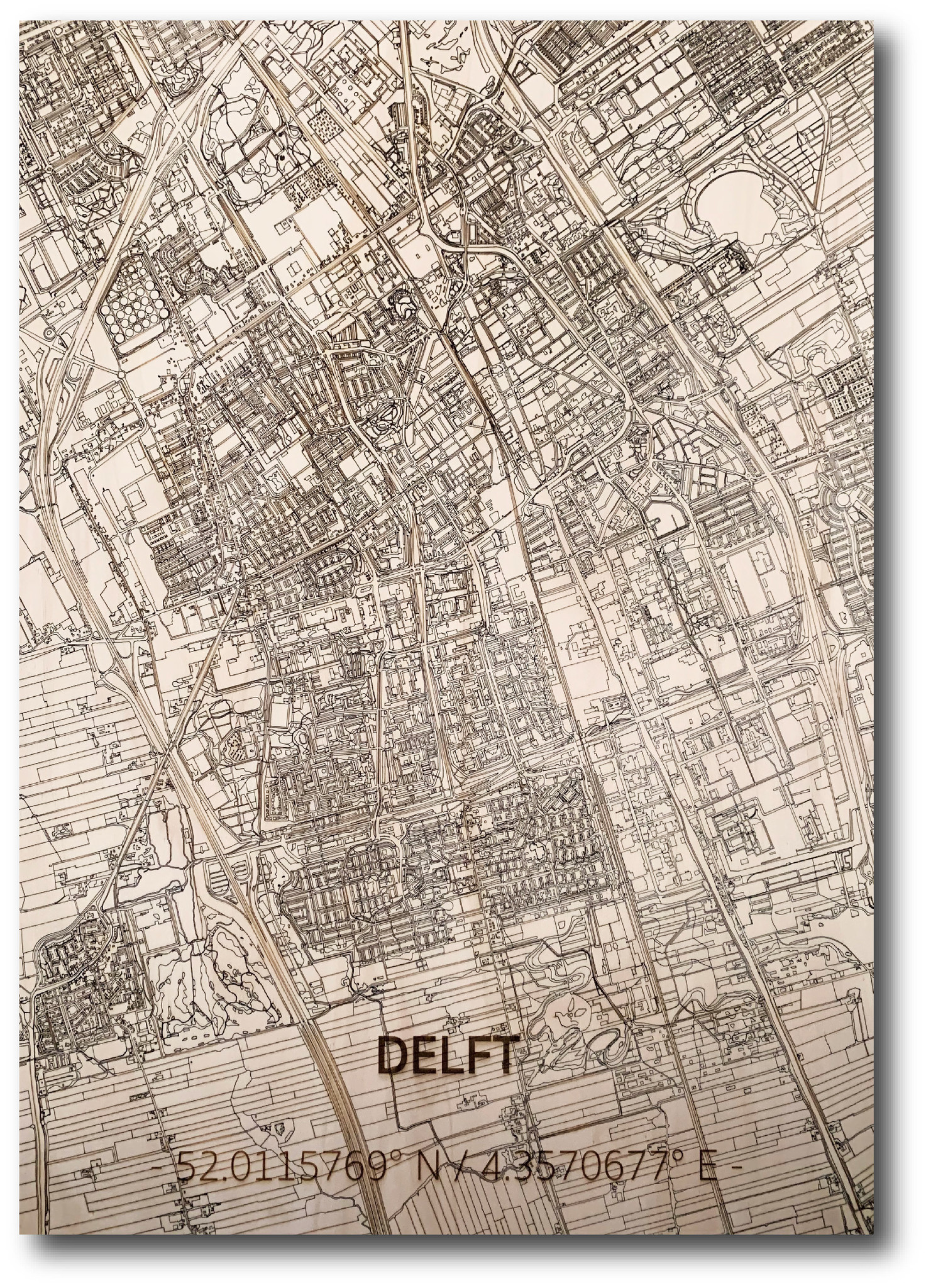 WOODEN WALL DECORATION Delft CITYMAP-1
