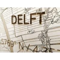 WOODEN WALL DECORATION Delft CITYMAP