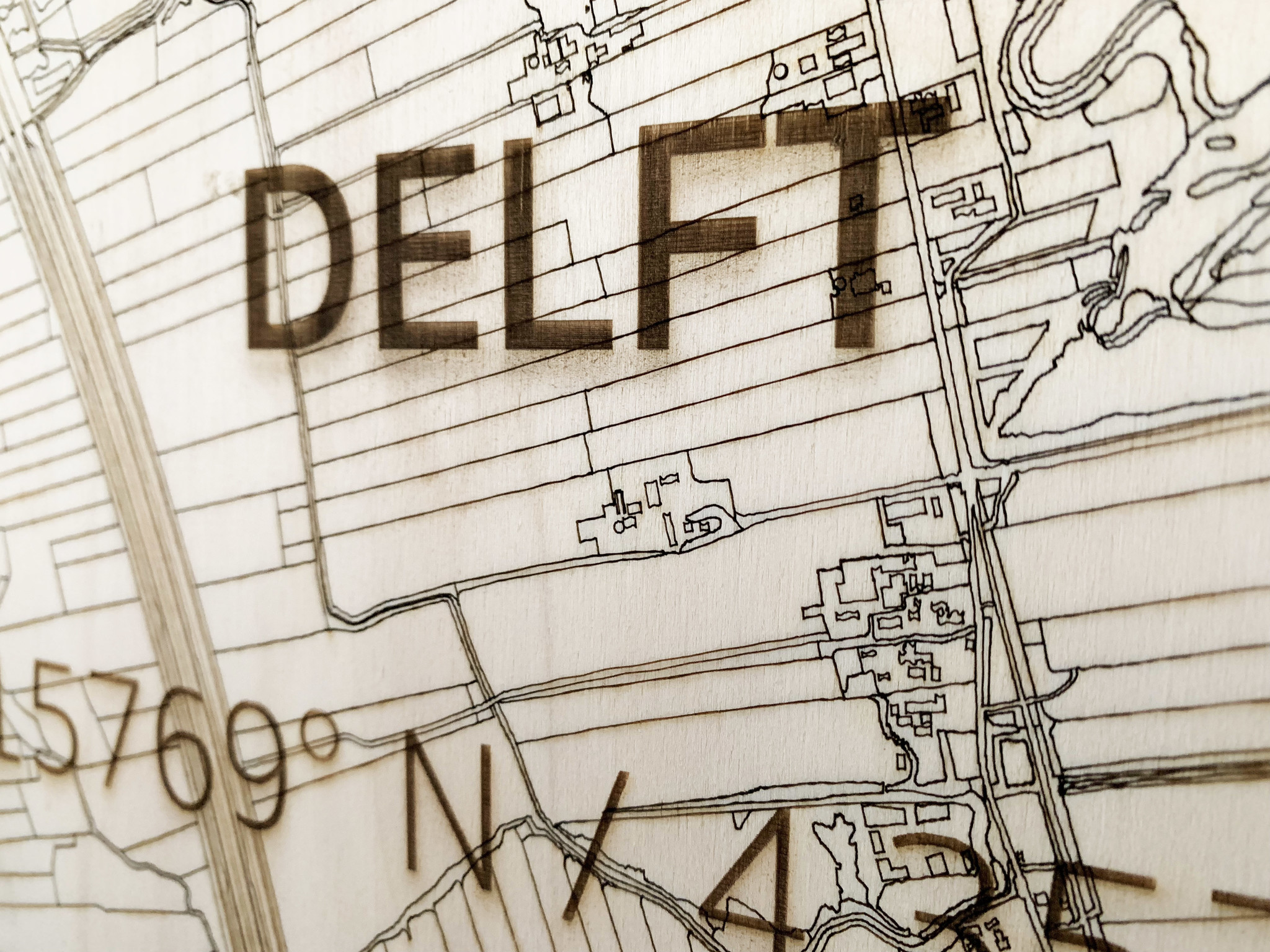 WOODEN WALL DECORATION Delft CITYMAP-4