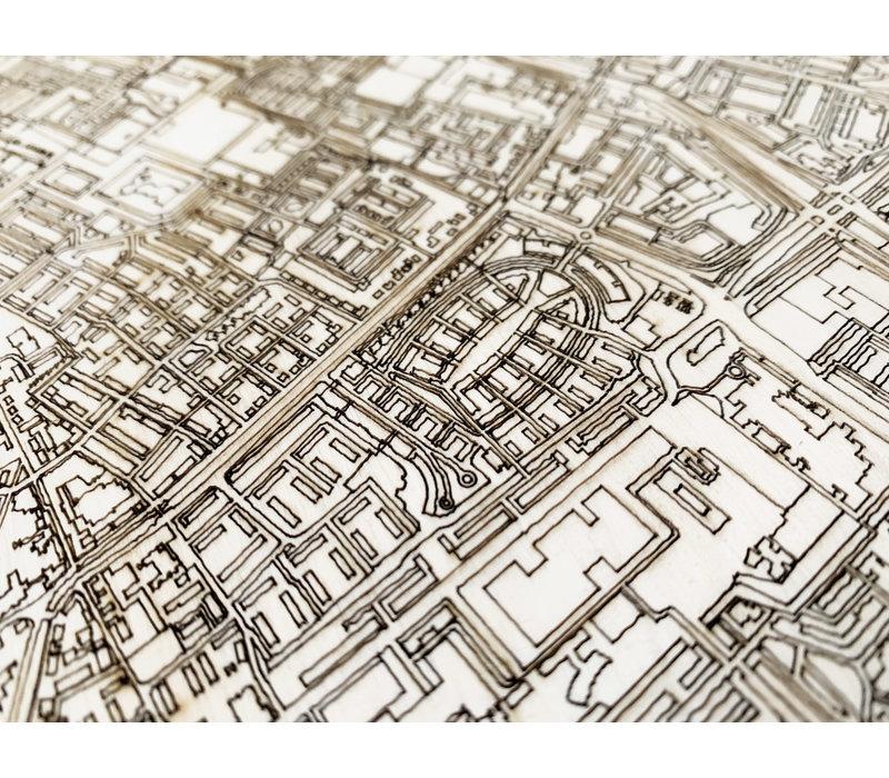 Stadtplan Delft | Wanddekoration Holz