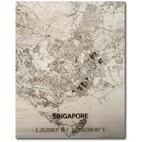 Citymap Singapore | houten wanddecoratie