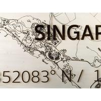 Stadtplan Singapur | Wanddekoration Holz