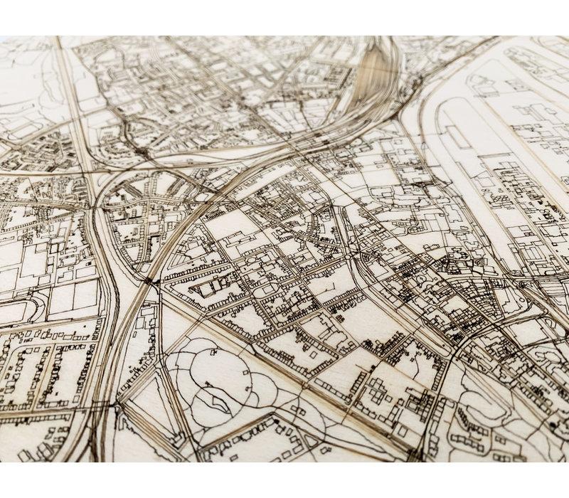 WOODEN WALL DECORATION Neuss CITYMAP