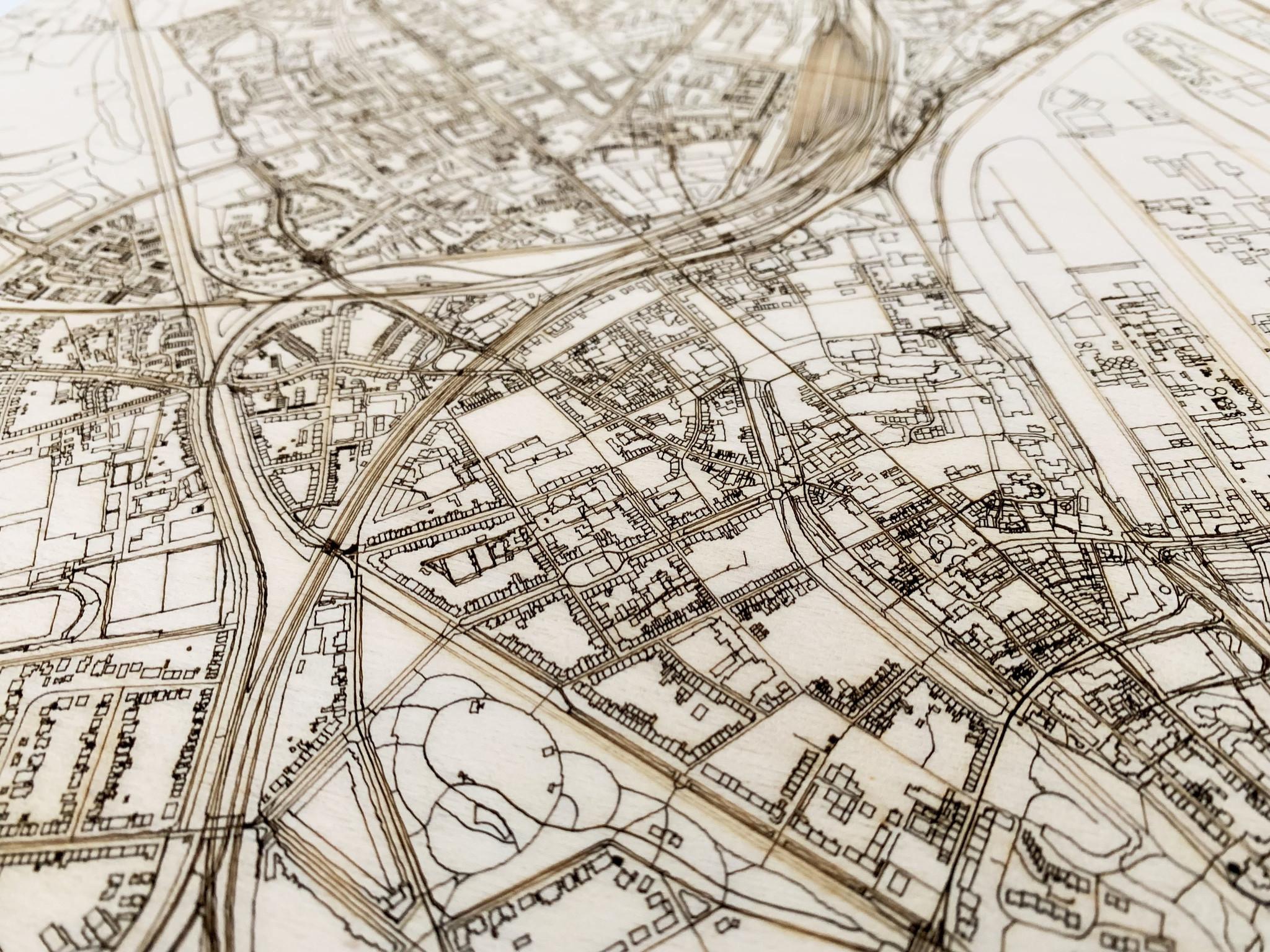 WOODEN WALL DECORATION Neuss CITYMAP-3
