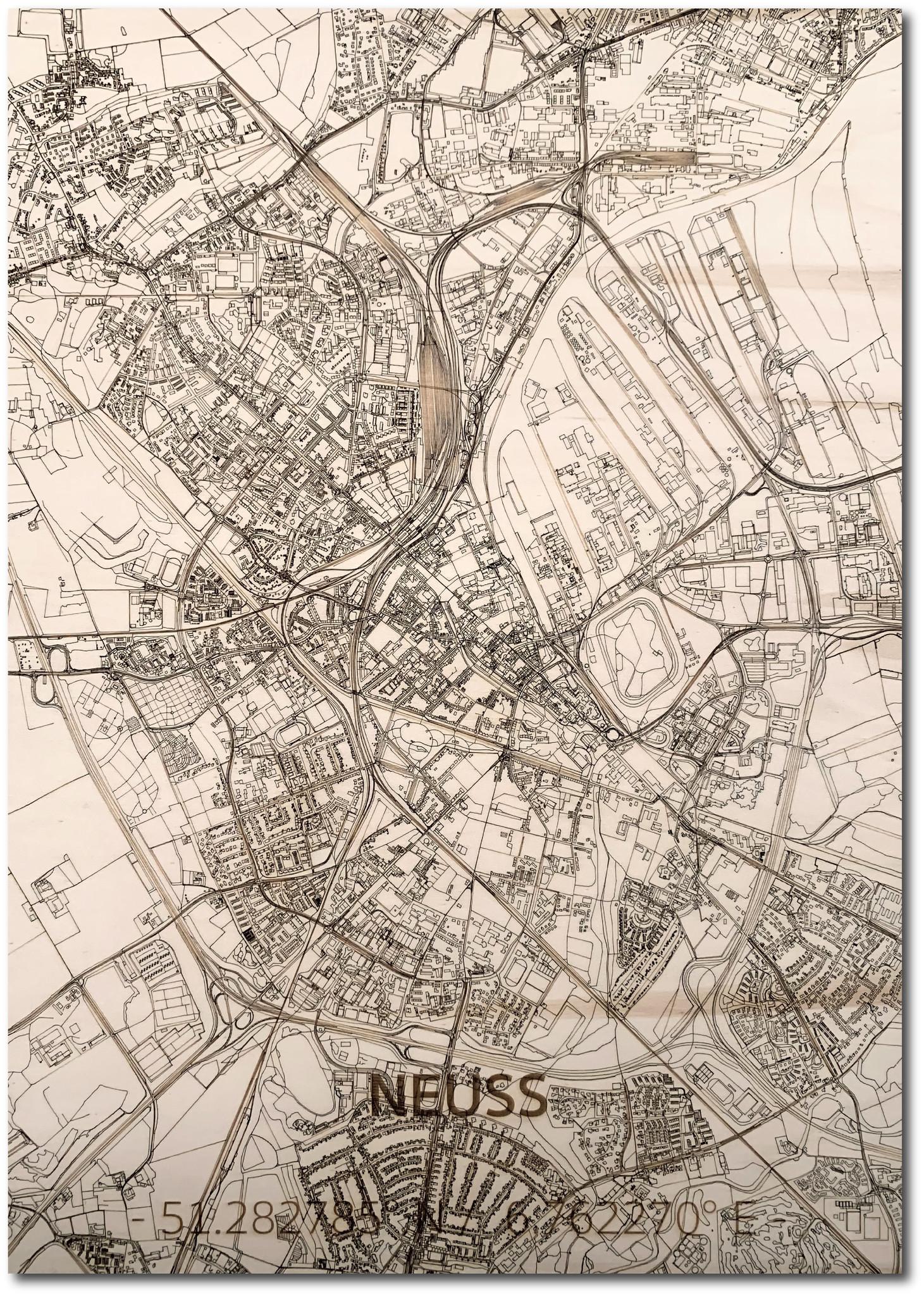 WOODEN WALL DECORATION Neuss CITYMAP-1
