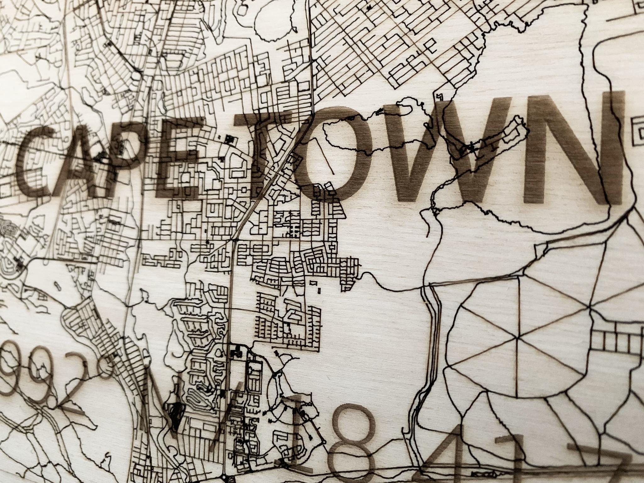 Citymap Kaapstad | houten wanddecoratie-4