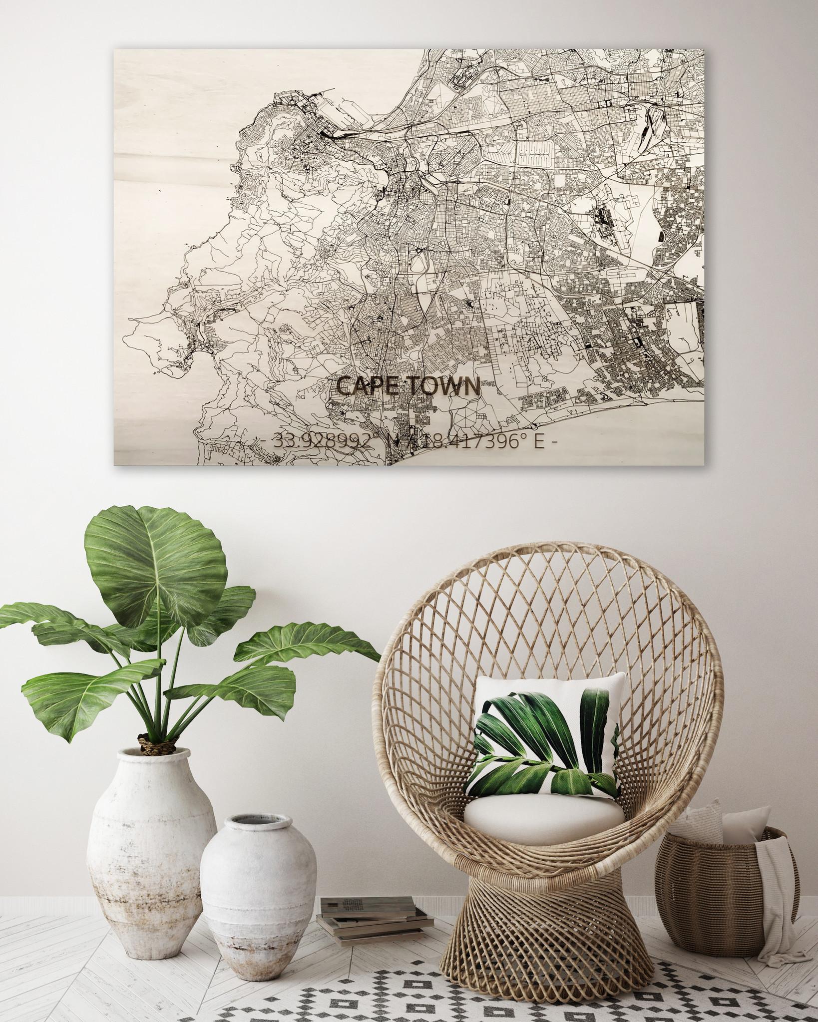 Citymap Kaapstad | houten wanddecoratie-2
