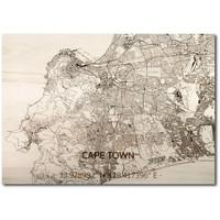 Citymap Kaapstad | houten wanddecoratie