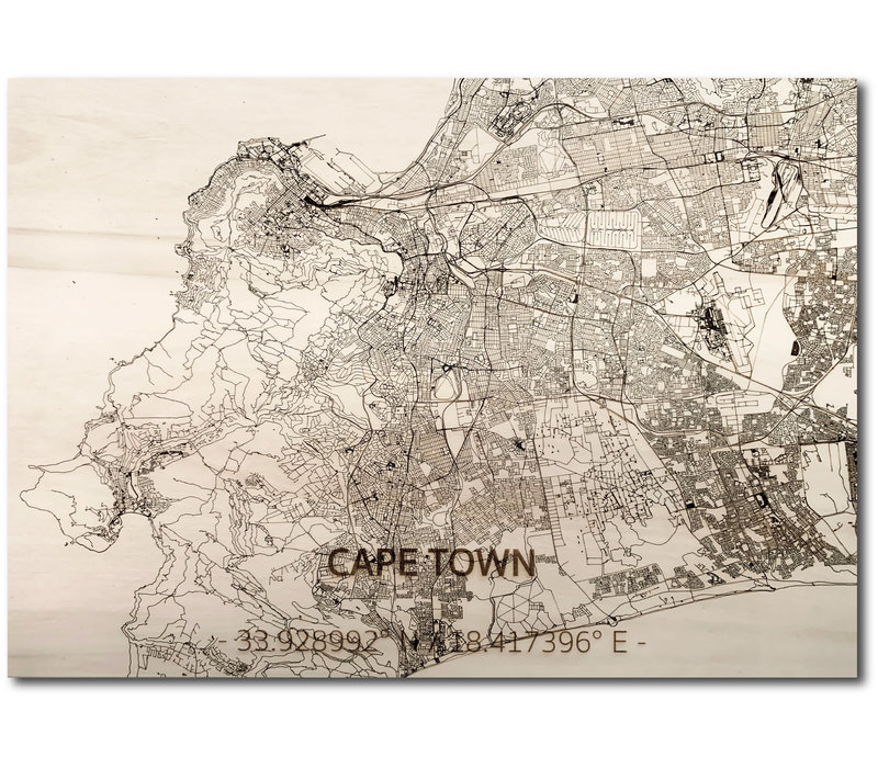 Stadtplan Kapstadt | Wanddekoration Holz