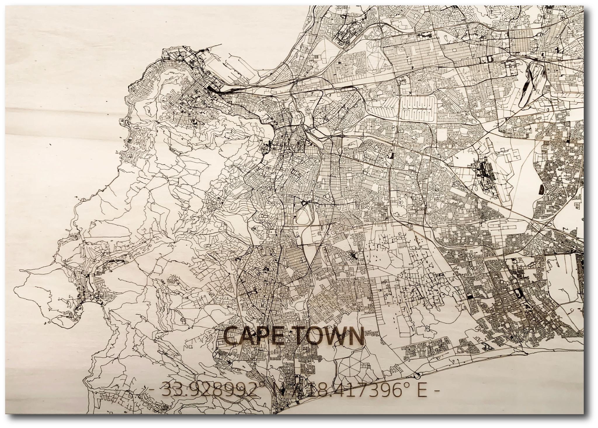 Citymap Kaapstad | houten wanddecoratie-1
