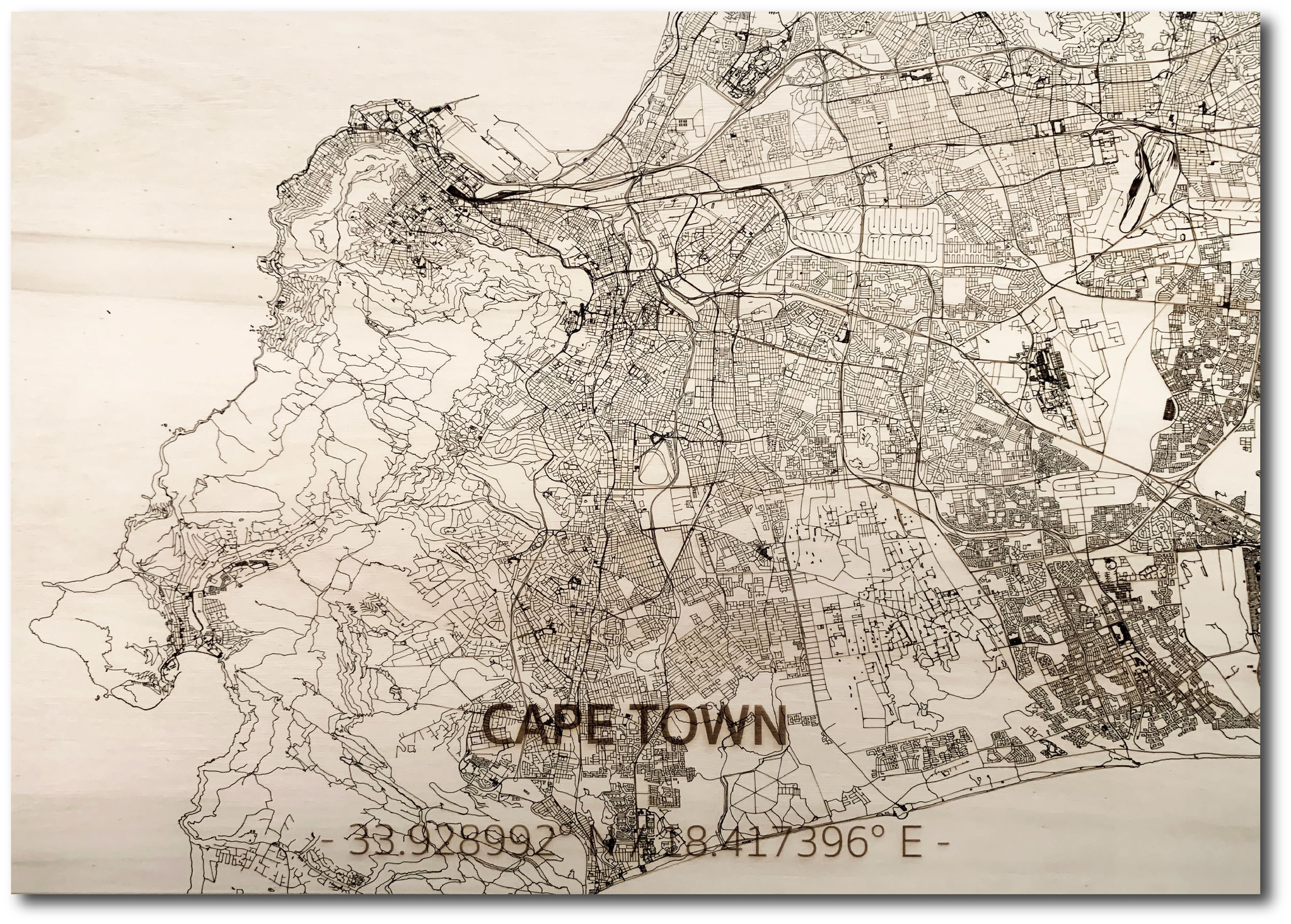 WOODEN WALL DECORATION Cape Town  CITYMAP-1