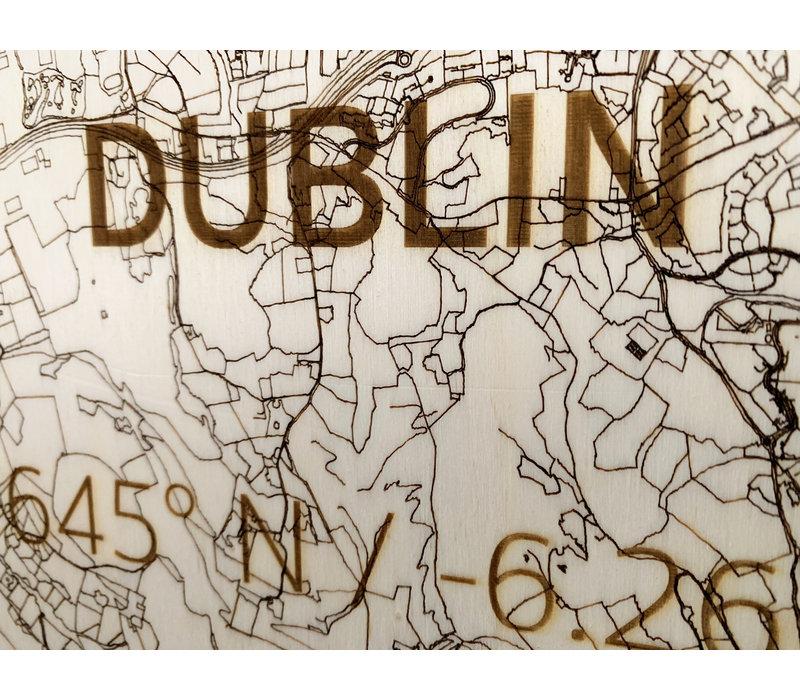 Stadtplan Dublin | Wanddekoration Holz