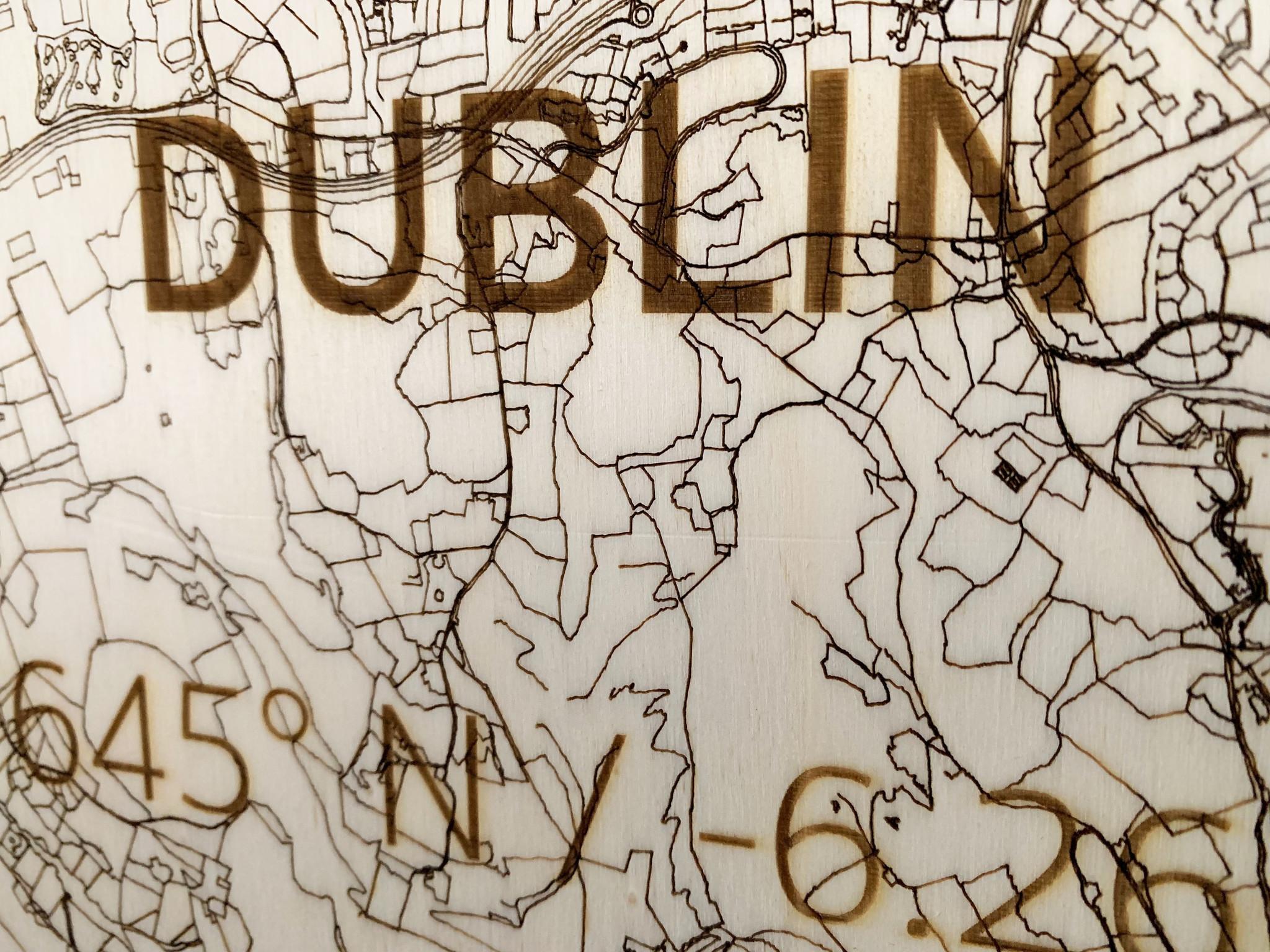 Citymap Dublin | Wooden Wall Decoration-3
