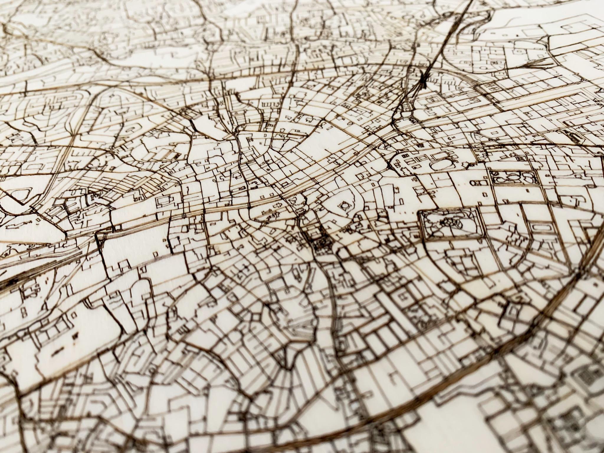 Stadtplan Dublin | Wanddekoration Holz-4