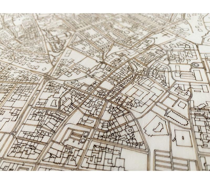Stadtplan Wiesbaden | Wanddekoration Holz