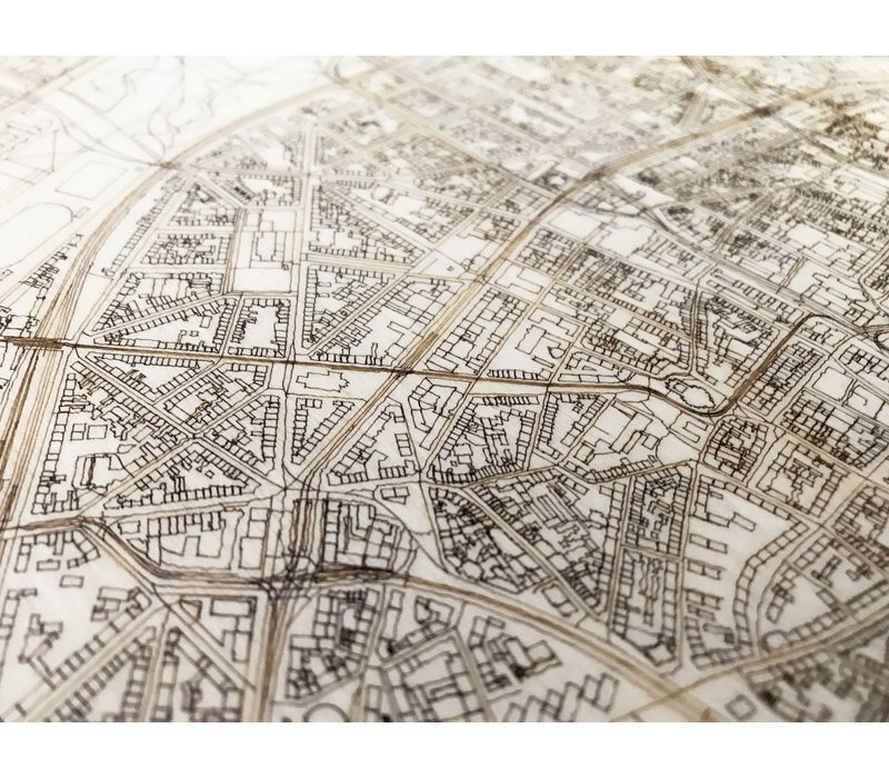 Citymap Keulen   houten wanddecoratie