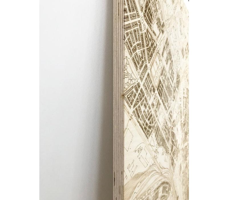 Stadtplan Barcelona | Wanddekoration Holz