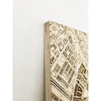 Stadtplan Frankfurt | Wanddekoration Holz