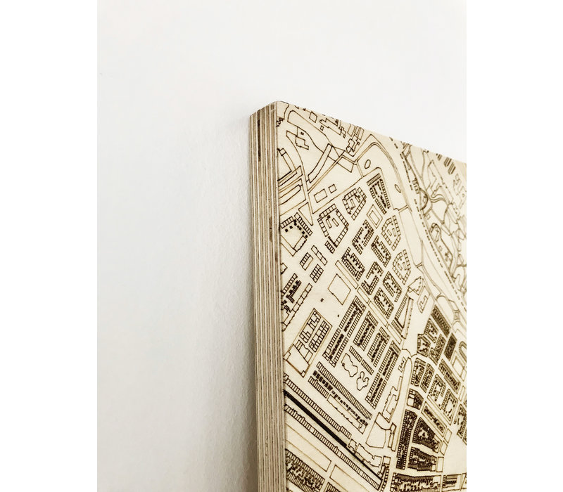Wall decoration Citymap Amsterdam | Wooden wall panel