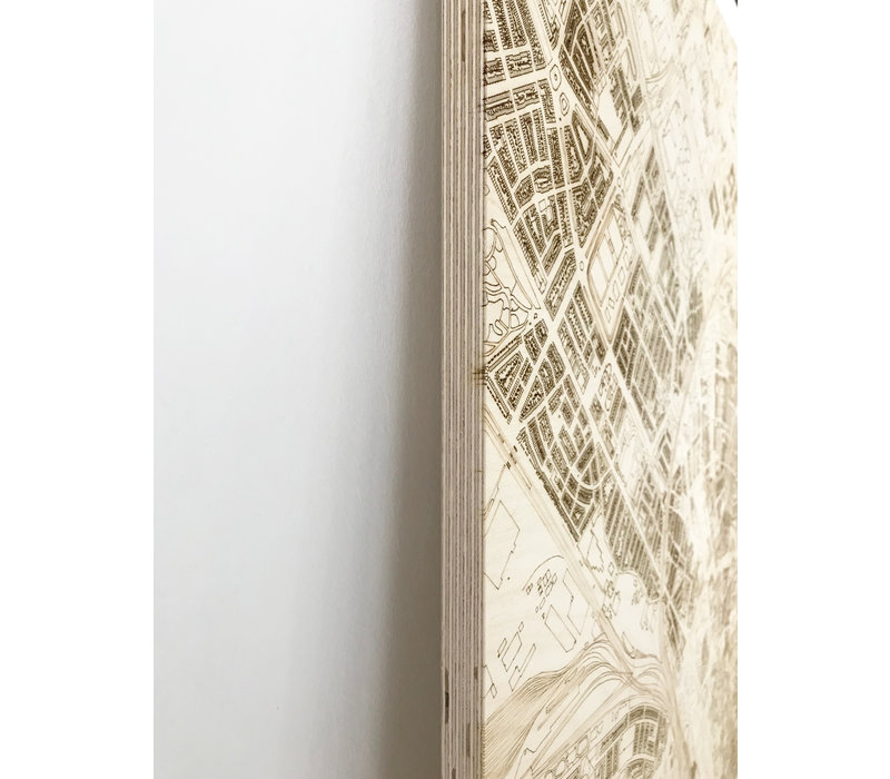 Citymap Dortmund | houten wanddecoratie