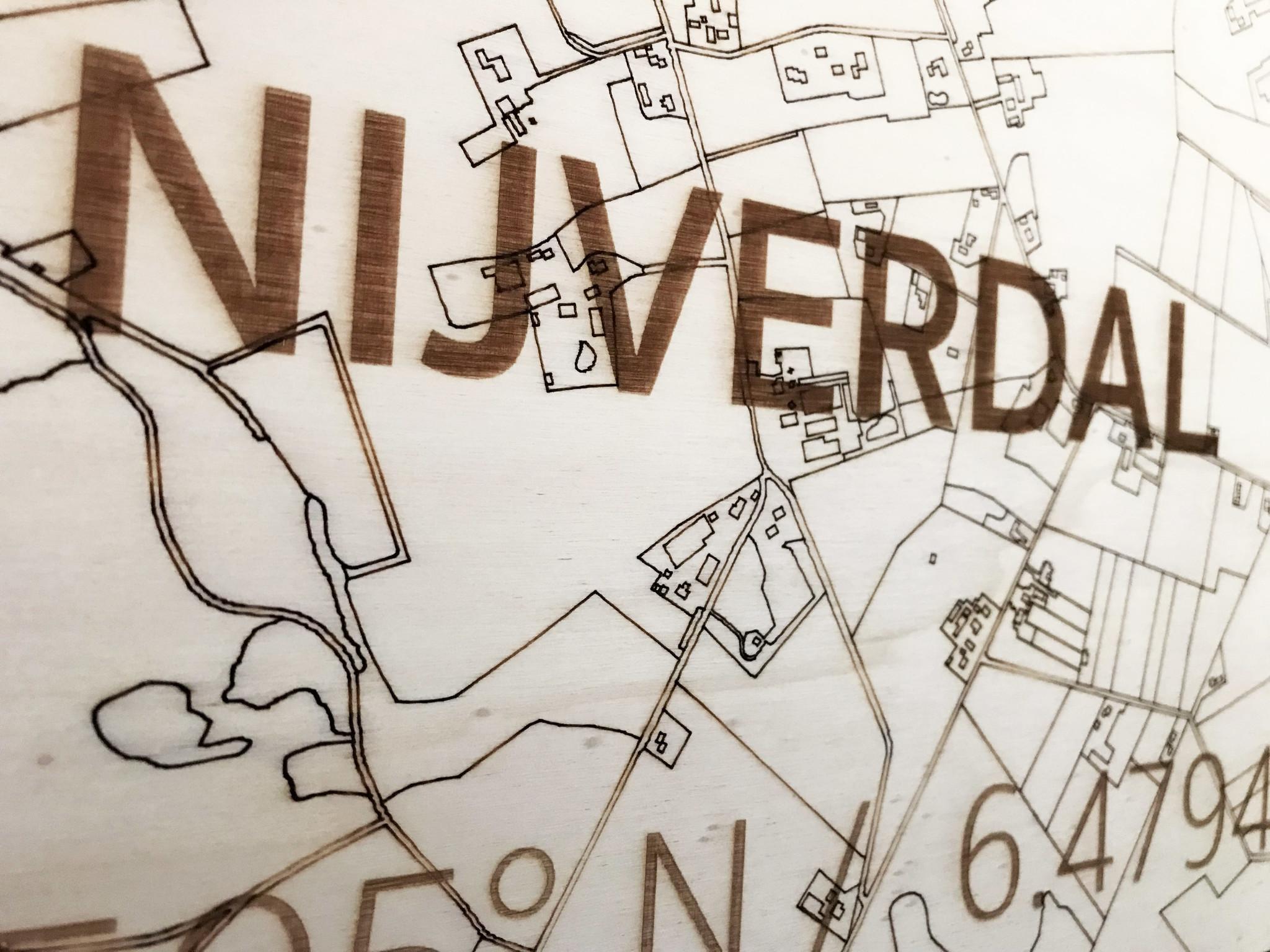Wanddekoration aus Holz Wandbild Nijverdal Stadtplan-3