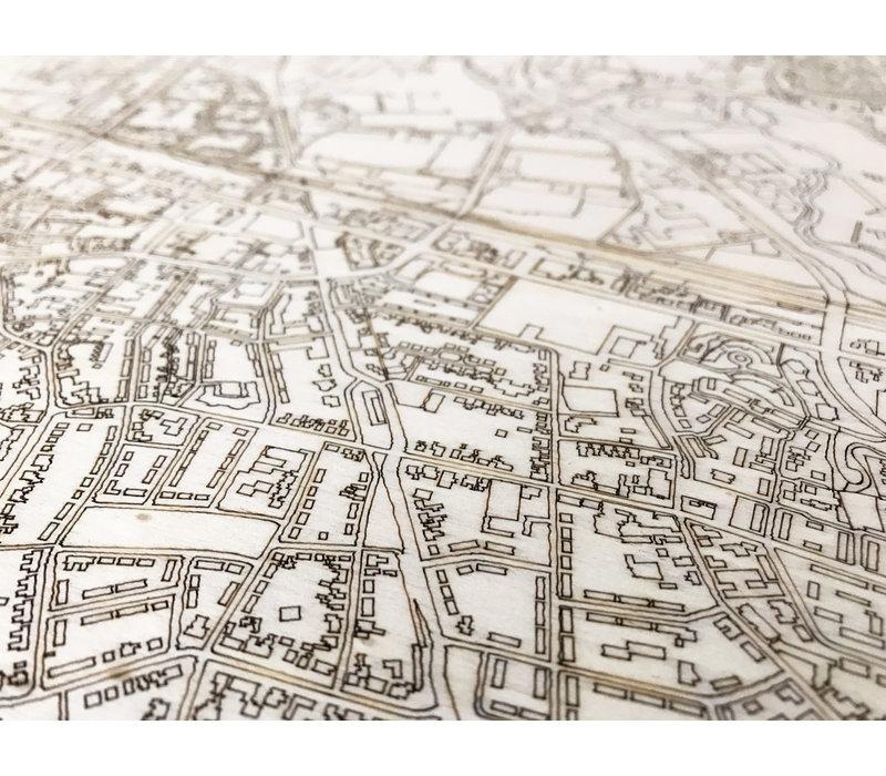 Wanddekoration aus Holz Wandbild Nijverdal Stadtplan