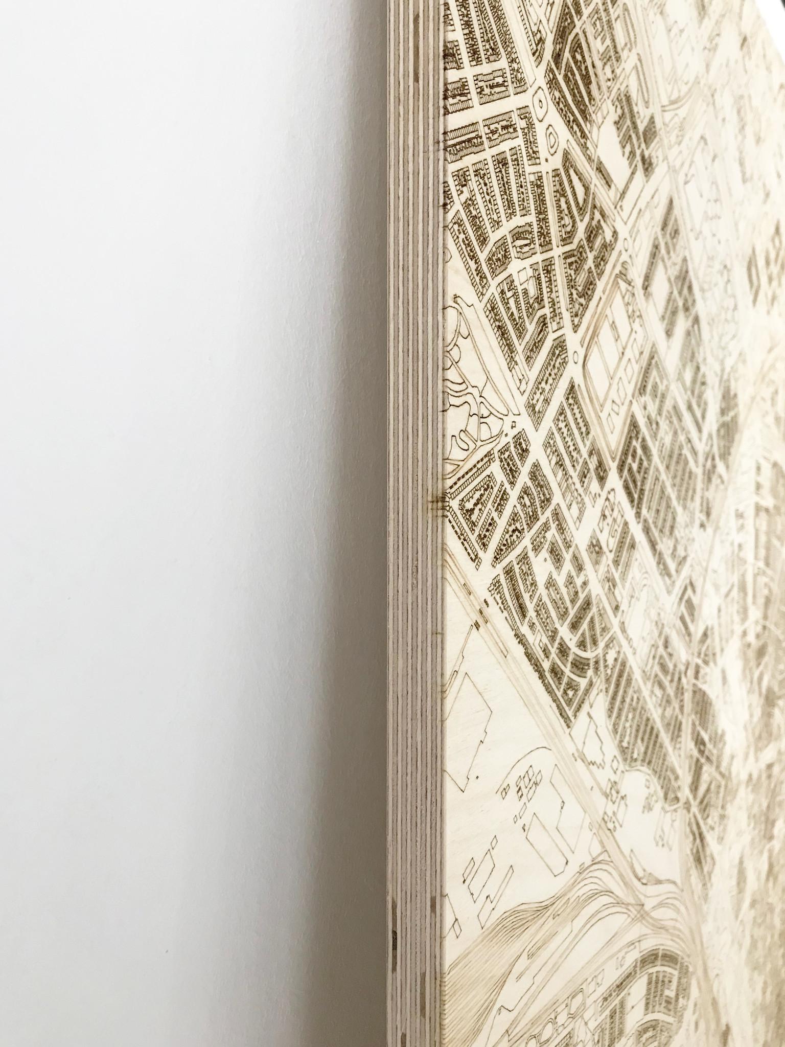 Wanddekoration aus Holz Wandbild Nijverdal Stadtplan-5