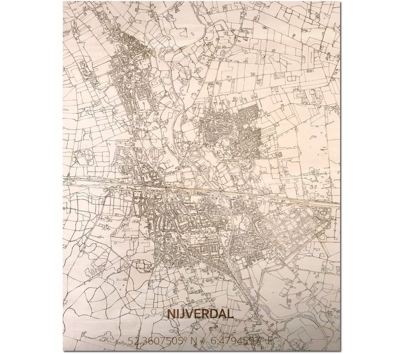 WOODEN WALL DECORATION Nijverdal CITYMAP