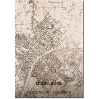 Citymap Middelburg | houten wanddecoratie