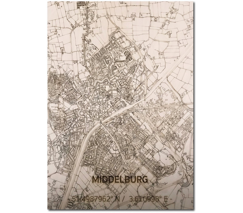 Stadtplan Middelburg | Wanddekoration Holz