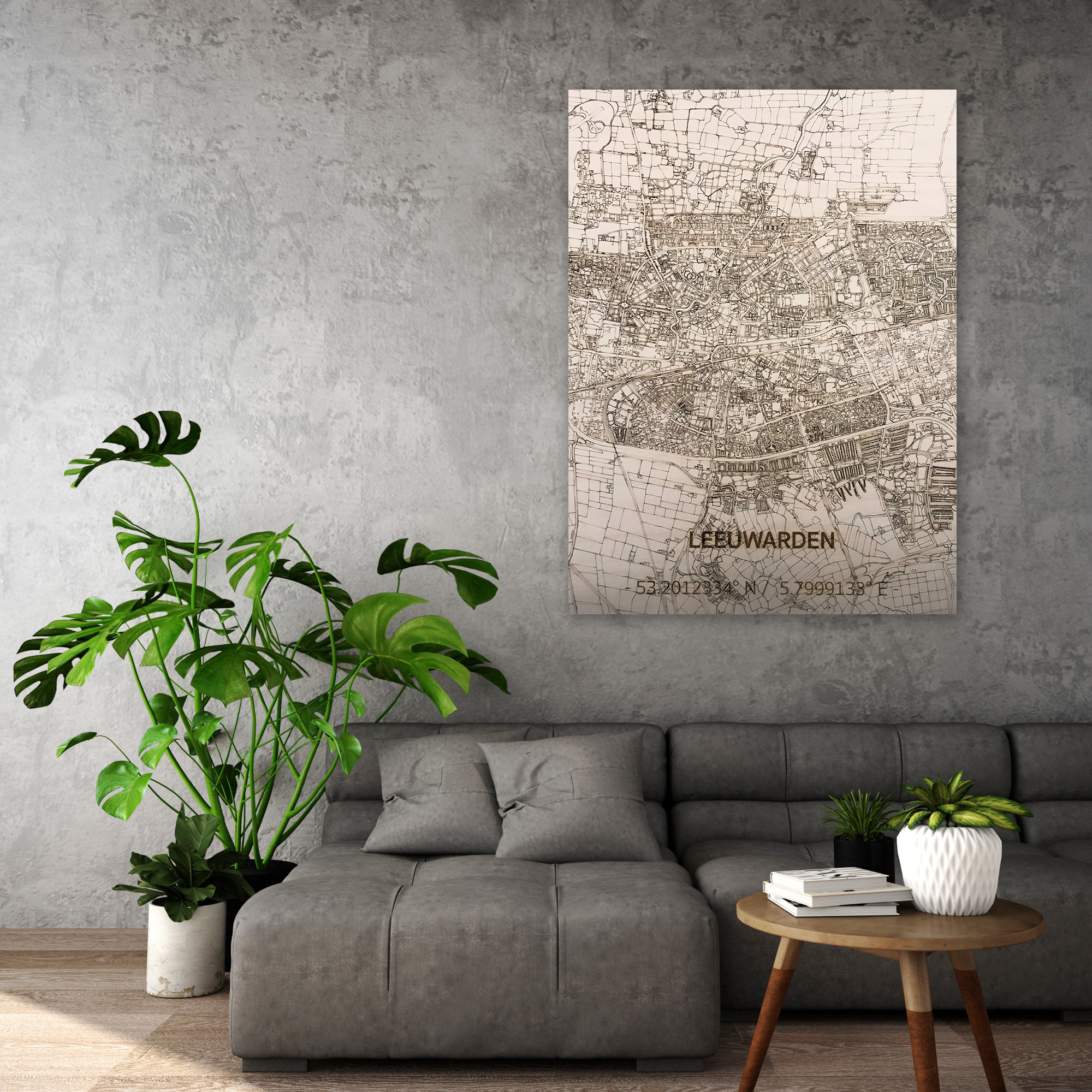 Citymap Leeuwarden   houten wanddecoratie-2