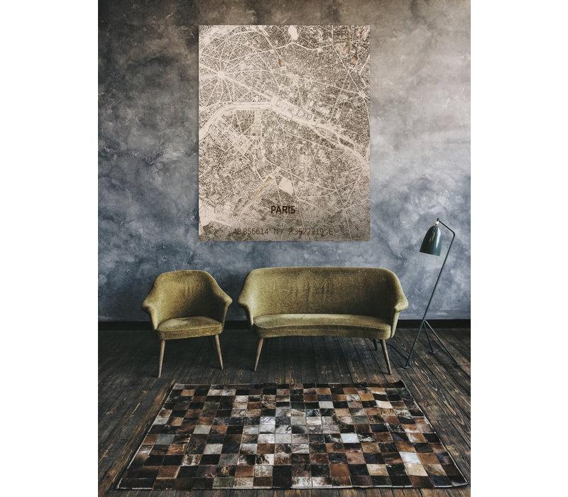 Stadtplan Paris | Wanddekoration Holz