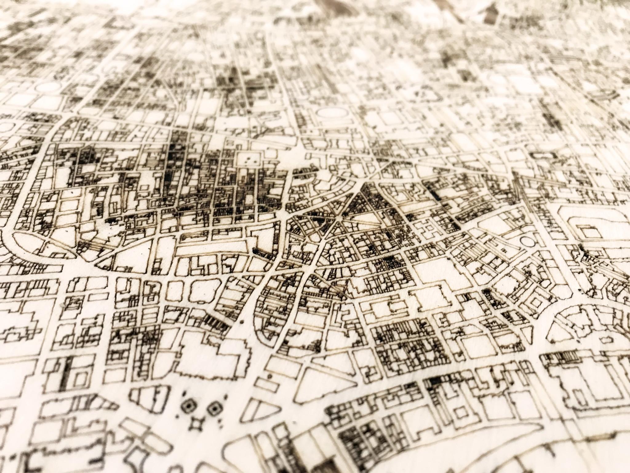 Wandbild Stadtplan London   Wanddekoration Holz-3
