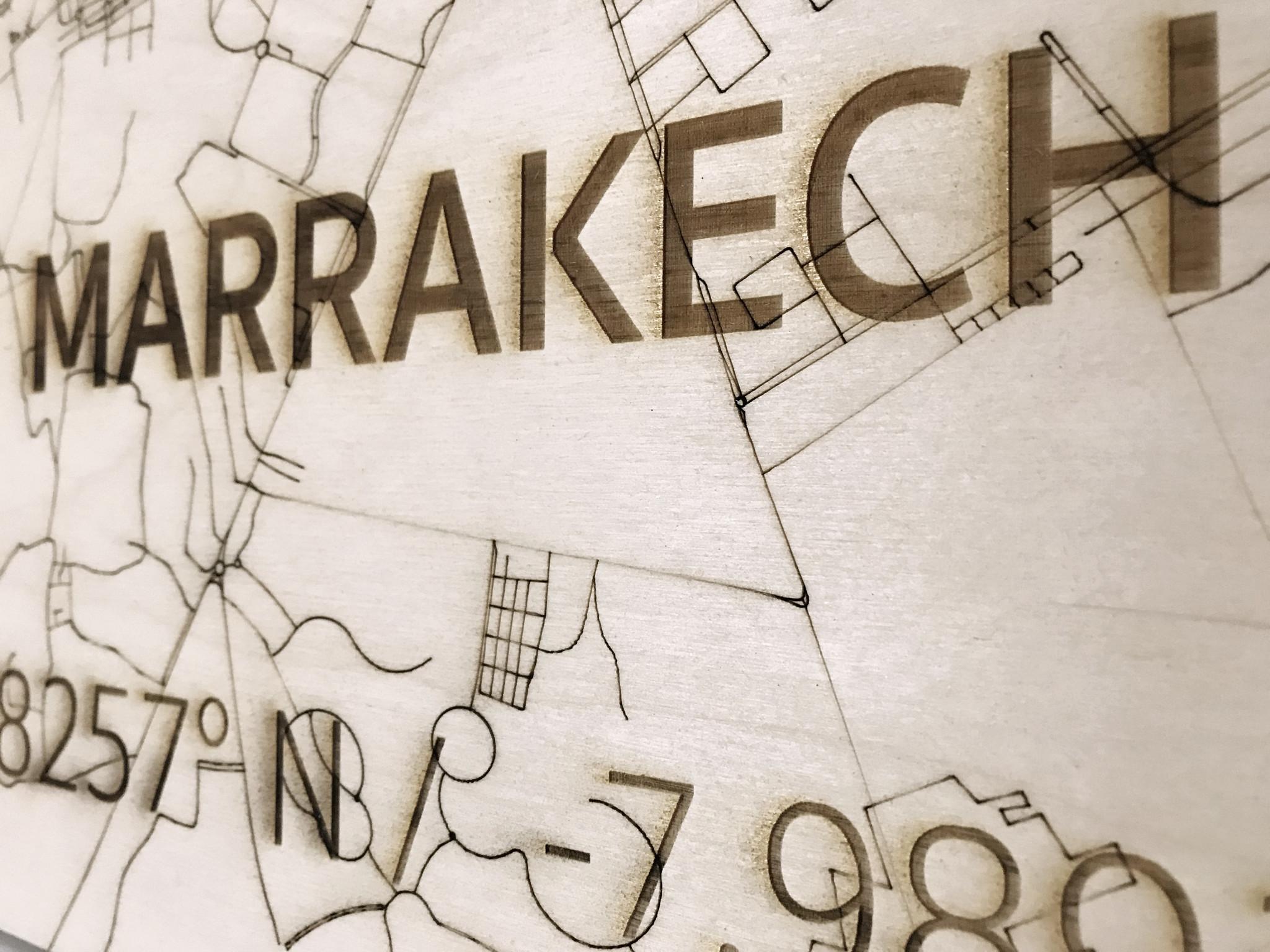 Stadtplan Marrakech | Wanddekoration Holz-4