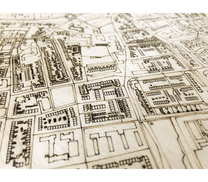 WOODEN WALL DECORATION Hillegom CITYMAP