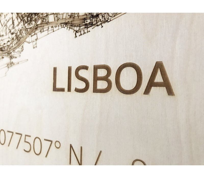 WOODEN WALL DECORATION Lisbon CITYMAP