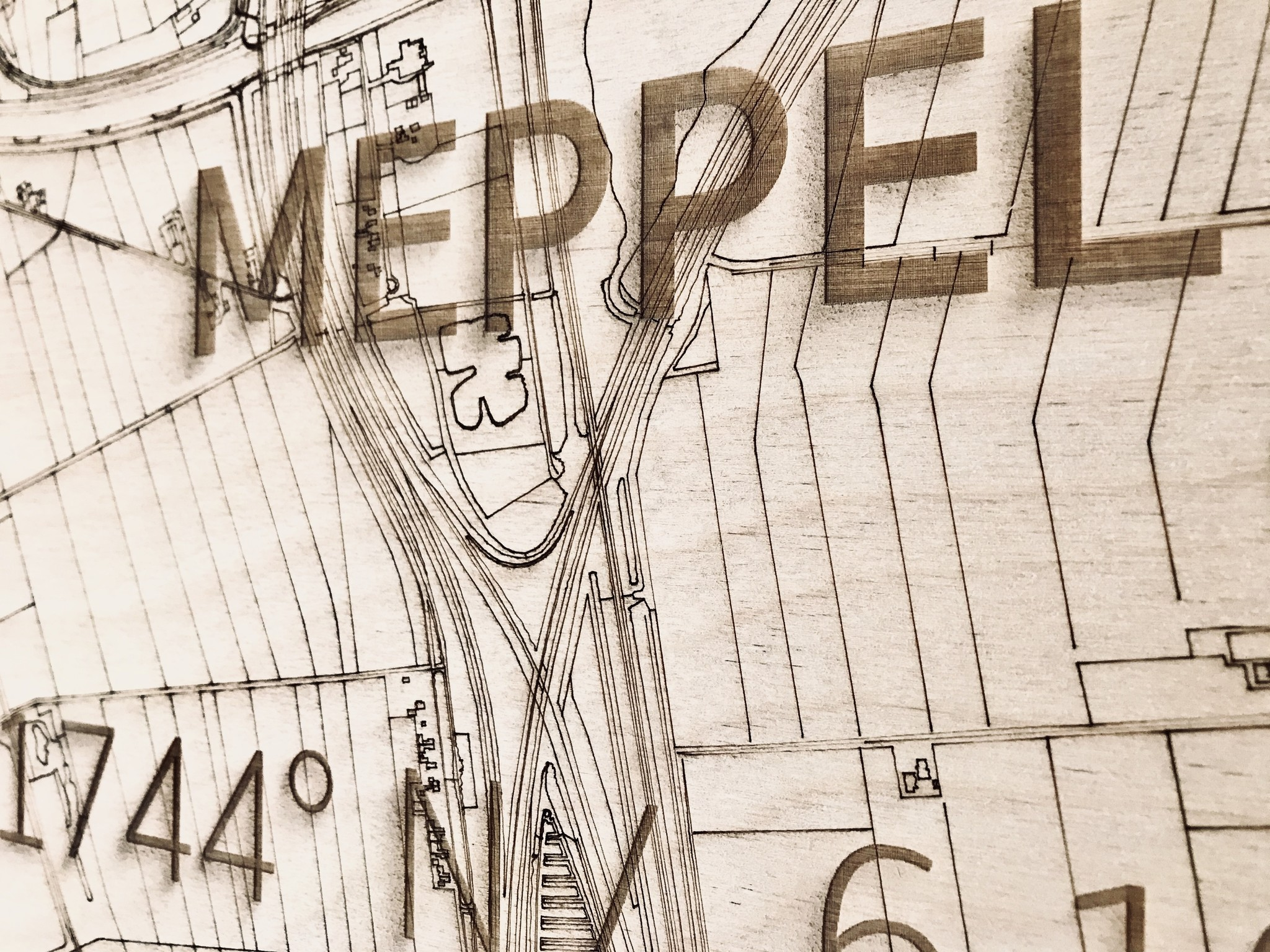 Stadtplan Meppel | Wanddekoration Holz-4