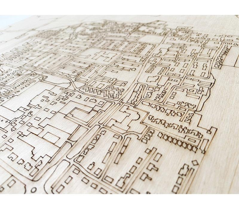 Citymap Heteren | houten wanddecoratie
