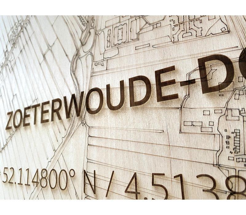 Stadtplan Zoeterwoude-dorp | Wanddekoration Holz