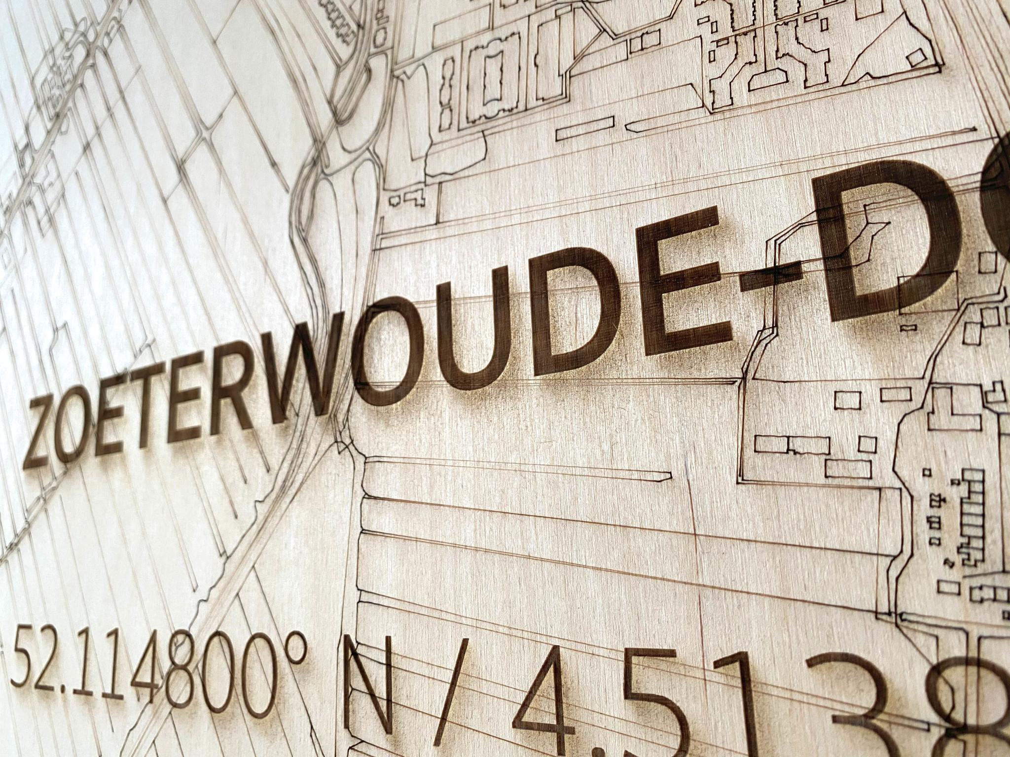 Stadtplan Zoeterwoude-dorp | Wanddekoration Holz-4