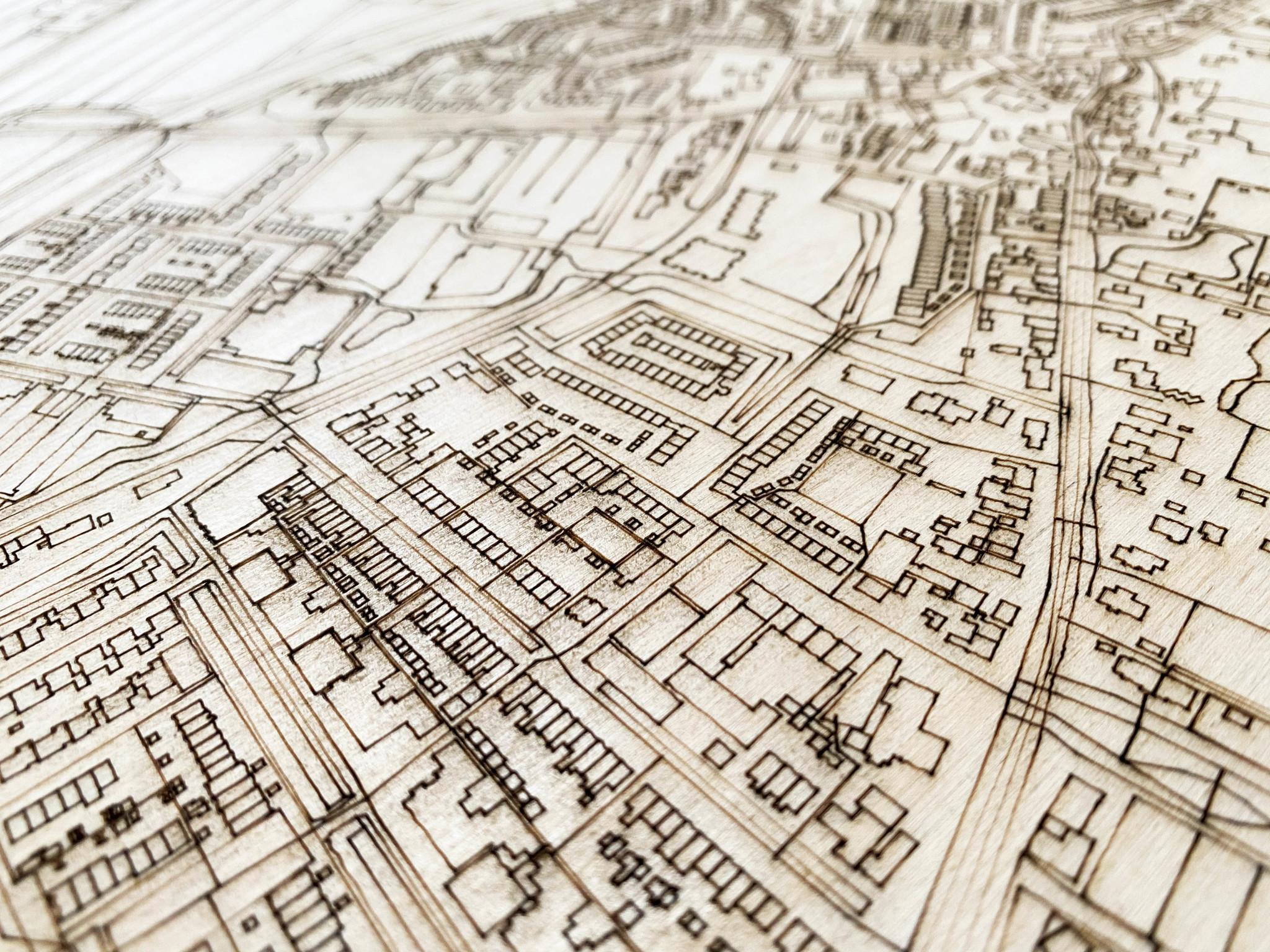 Stadtplan Zoeterwoude-dorp | Wanddekoration Holz-3