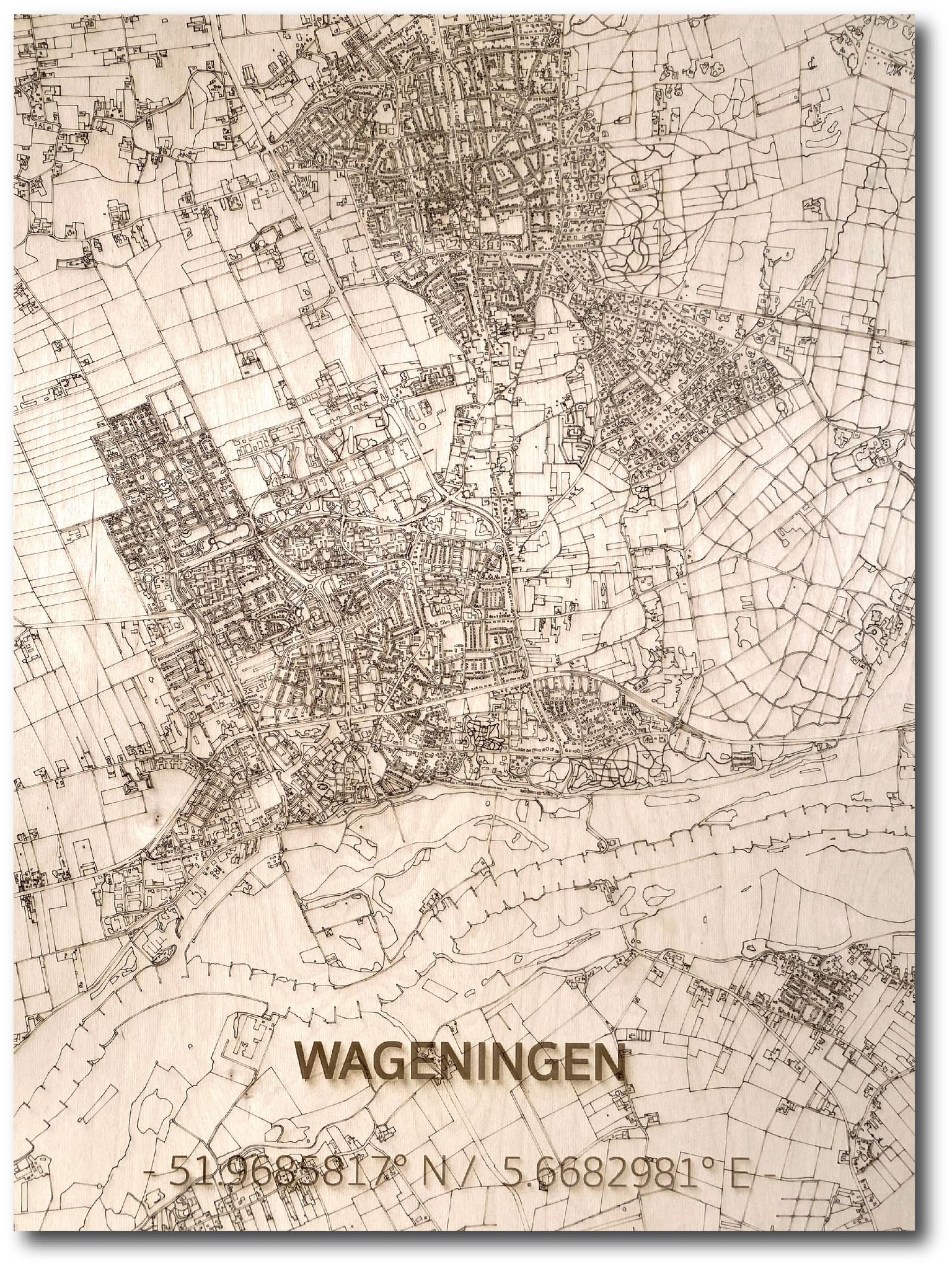 Citymap Wageningen | houten wanddecoratie-1