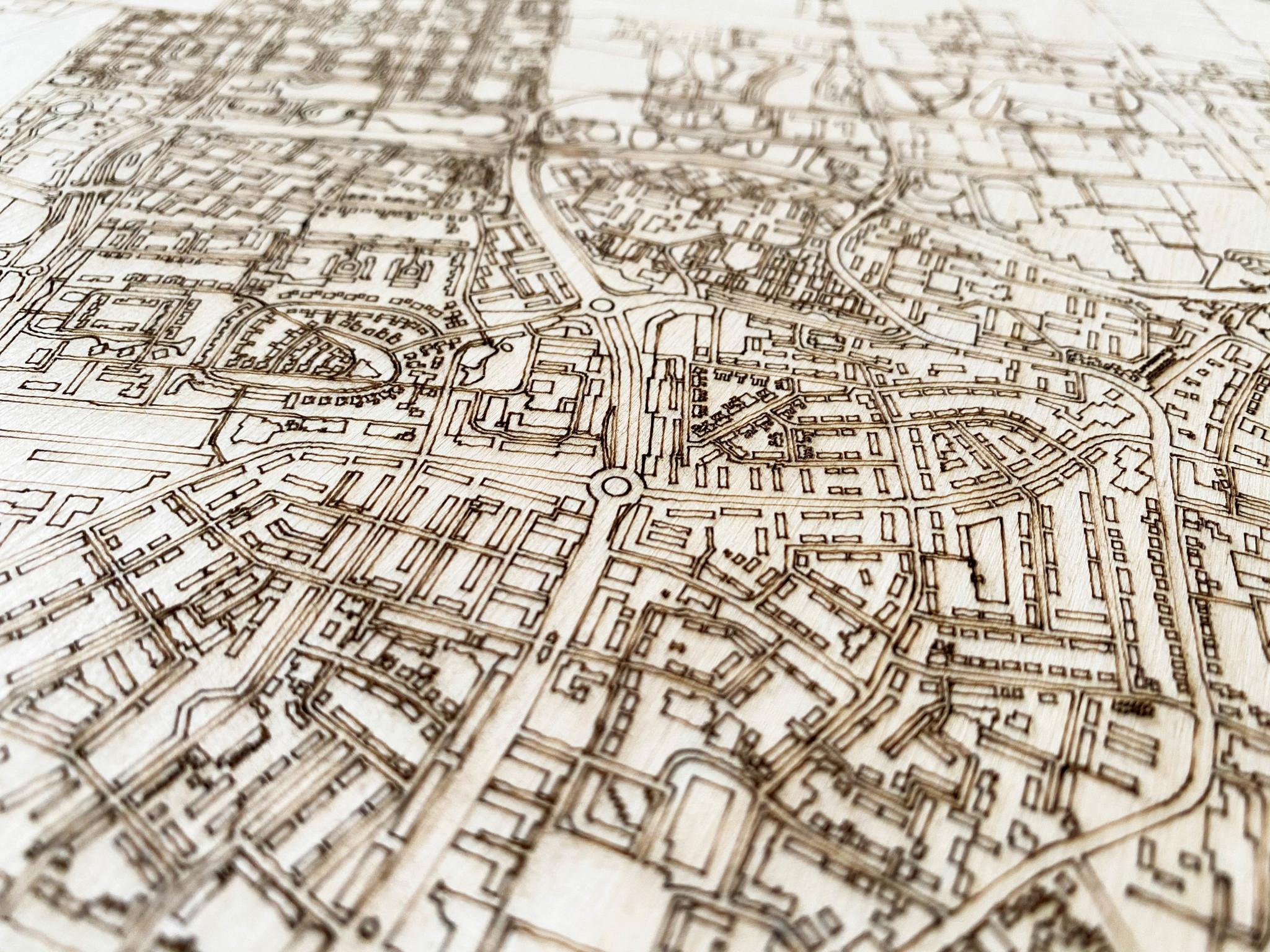 Citymap Wageningen | houten wanddecoratie-3