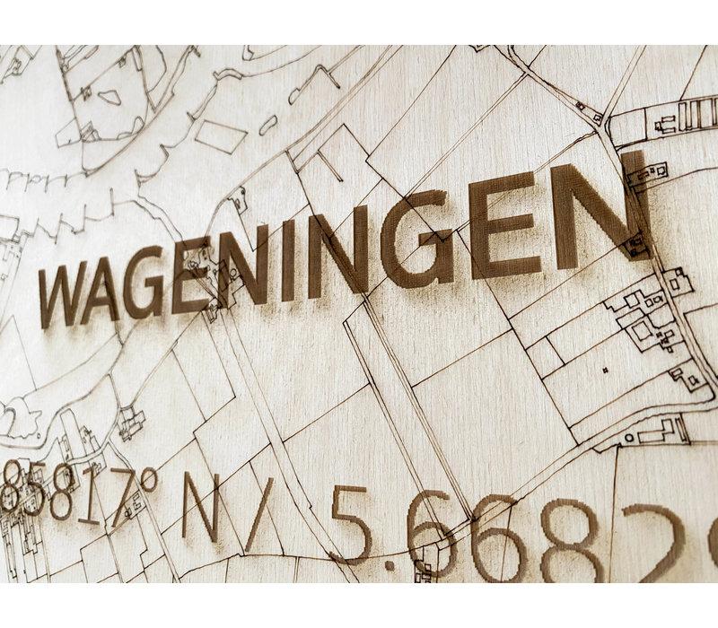 Stadtplan Wageningen | Wanddekoration Holz