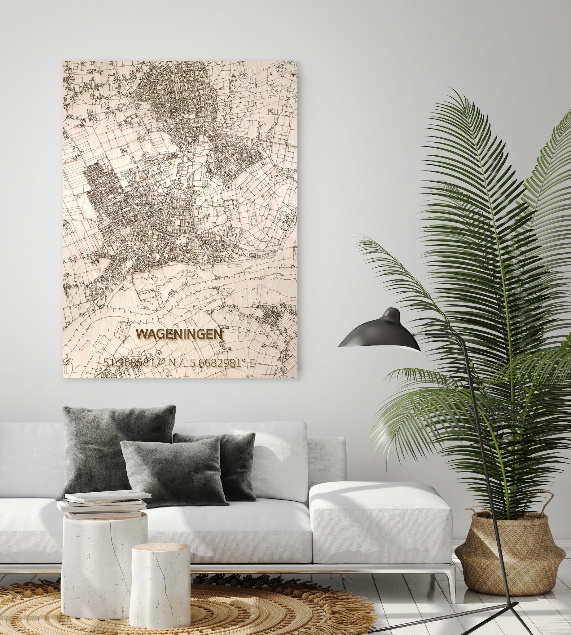 Citymap Wageningen | houten wanddecoratie-2