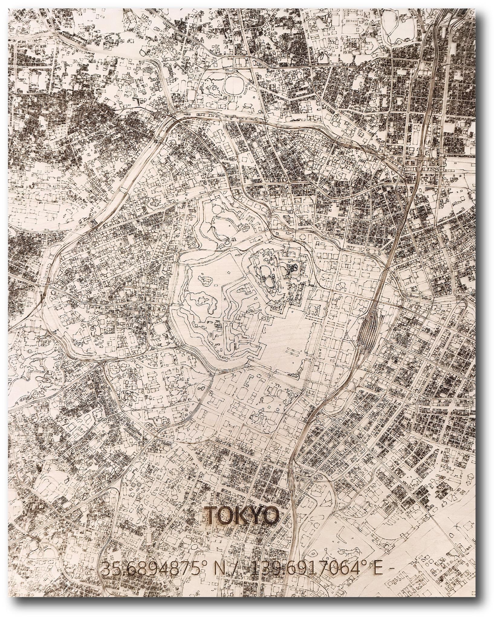 Stadtplan Tokio | Wanddekoration Holz-1