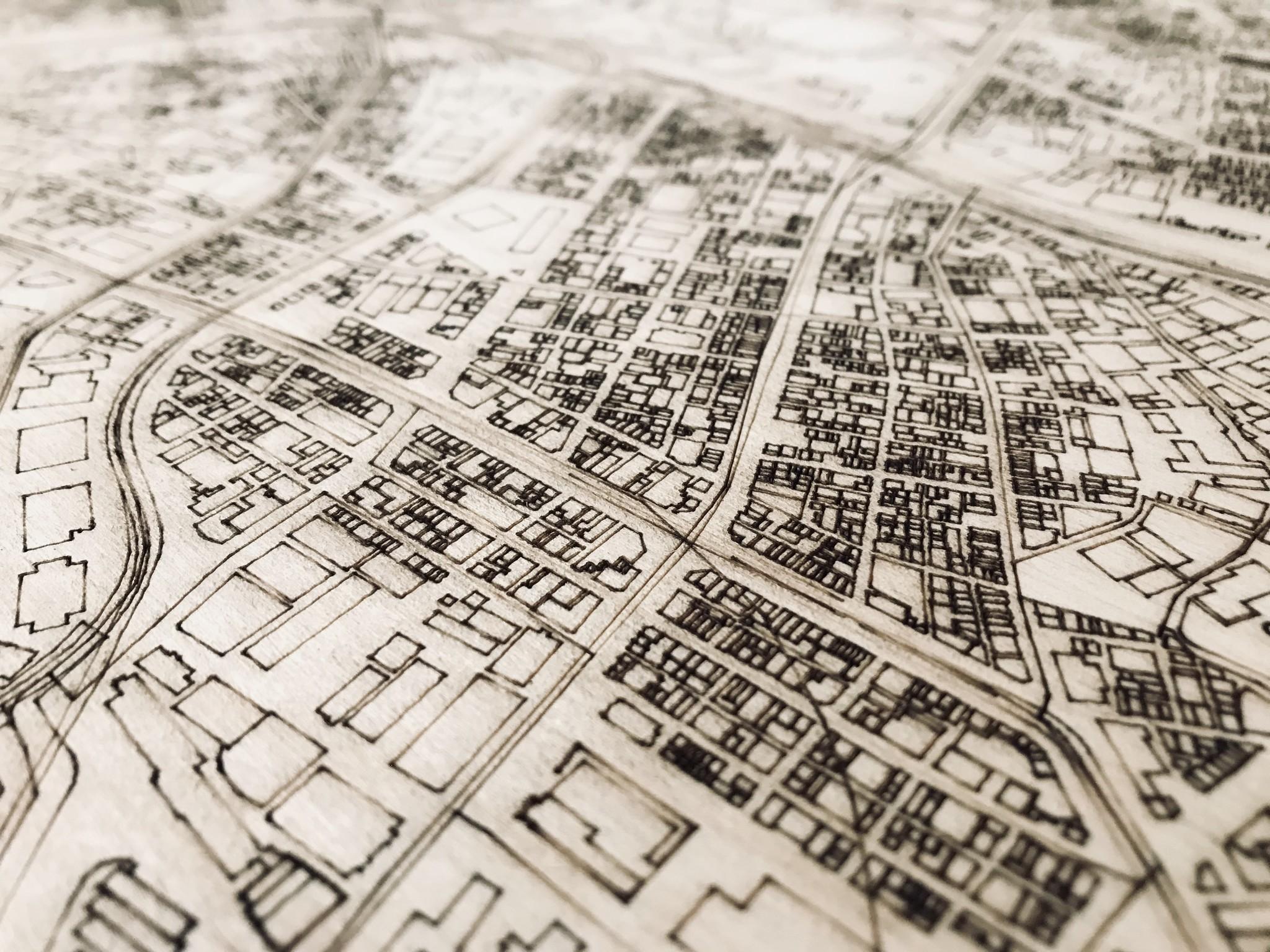 Stadtplan Tokio | Wanddekoration Holz-4