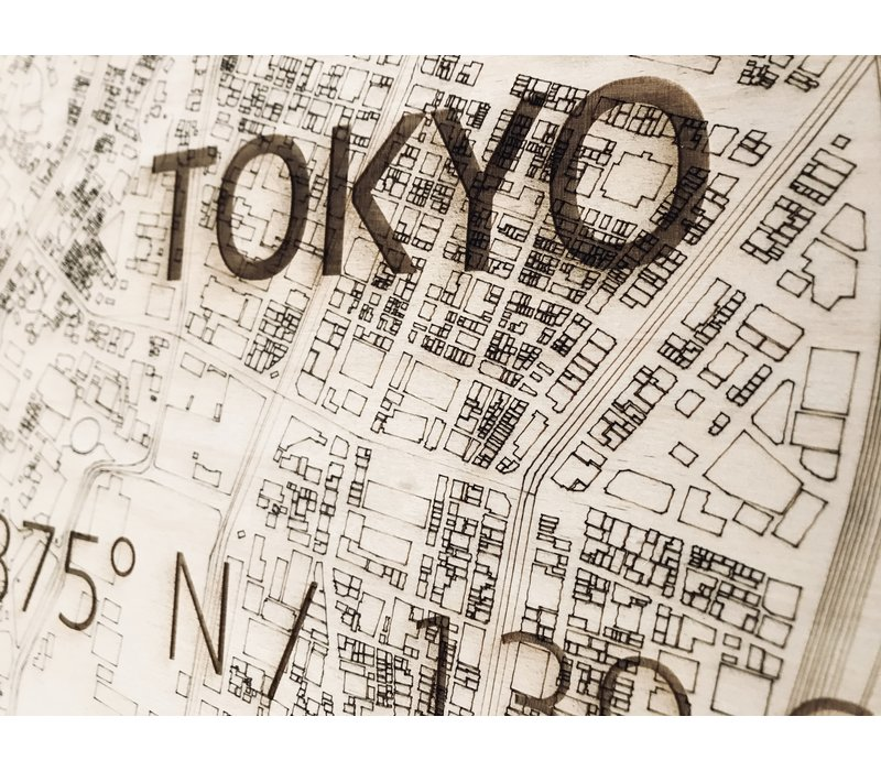 Citymap Tokio | houten wanddecoratie