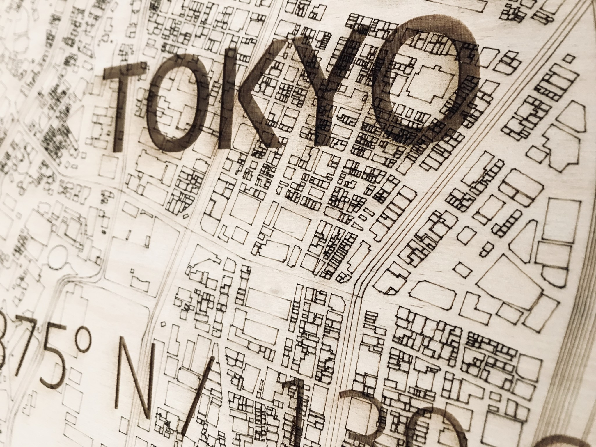 Stadtplan Tokio | Wanddekoration Holz-3